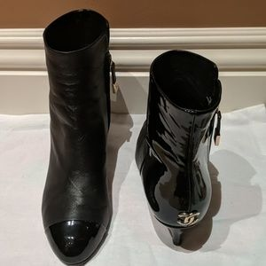 Chanel Black Leather/Patent Bootie
